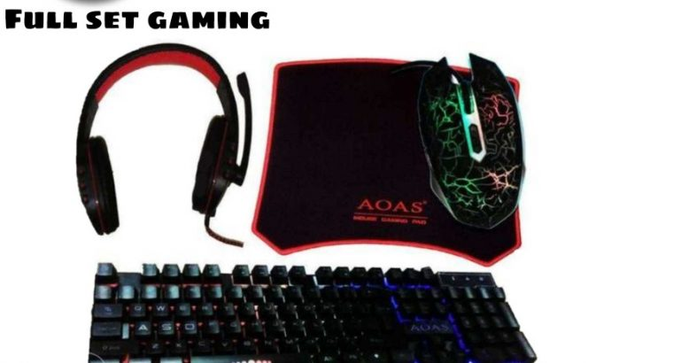 Keyboard mouse headset mouse pad